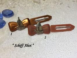 """HundeHaarSpange Metall Applikation  """" Schiff Ahoi """" Nr . 4"""