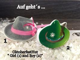 """HundehaarSpange  """" Oktoberfest Motiv """" WiesenHut SET rosa / grün Nr  3 """""""
