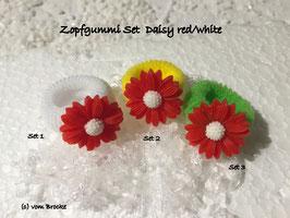 Zopfgummi Set Daisy Red/White