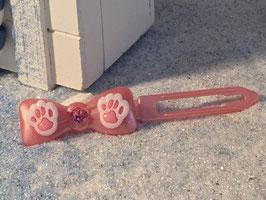 """Glamour HundehaarSpangen """" Elegance Pfötchen  perlmut rosa"""" mit einem SWK  in der Mitte der Spange Nr 1"""