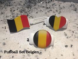 "Fußball Set (3) "" Belgien  (Flagge/Herz/Button)"
