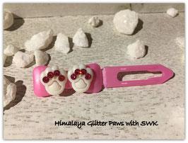 "HundeHaarSpange  "" Himalaya Glitter Paws White  pink"""
