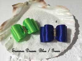 """HundeHaarSpange : Schleife """" Classic Summer Dream grün und dunkelblau """""""