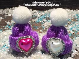 Valentine´s Day  Mützchen mit Rhinestone Herz Nr. 5