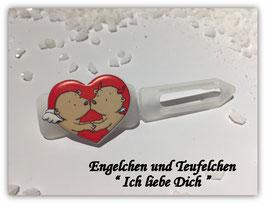 """HundeHaarSpange """" Engelchen  und Teufelchen  Ich liebe Dich  """""""