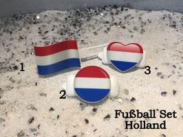 """Fußball Set (3) """" Holland (Flagge/Herz/Button)"""