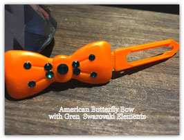 "Kunststoff HundehaarSpange/ SWK  "" Glamour American Butterfly Dog Bows Orange with Green SWK """