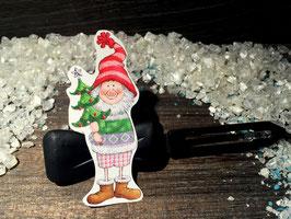 """HundehaarSpange """" Wichtel mit Weihnachtsbaum Nr . 3 """""""