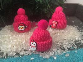 "Buntes Wintermützchen mit Applikation "" pink """