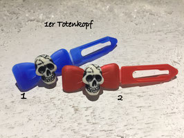 "HundehaarSpange "" 1er Totenkopf Nr. 1 "" SET BLAU/ROT"