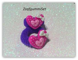 Zopfgummi Set Herzchen pink