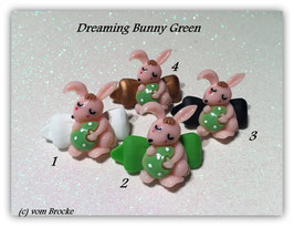 "Oster HundeHaarSpange  Hasen "" Dreaming Bunny  Green """