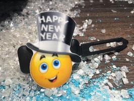 """Silvester MotivHundeHaarSpange """" Zylinder Happy New Year """""""