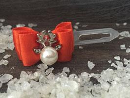"""WeihnachtsSchleife """" Rentierkopf  Silber Nr. 7  Orange  """""""