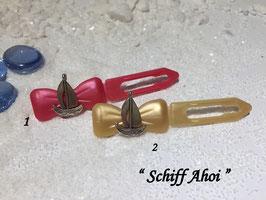 """HundeHaarSpange Metall Applikation  """" Schiff Ahoi """" Nr 1"""