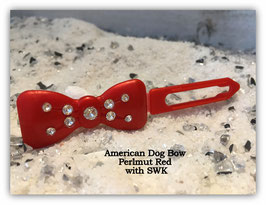 "Kunststoff HundehaarSpange/ SWK  "" Glamour American Butterfly Dog Bows Perlmut  Rot   """