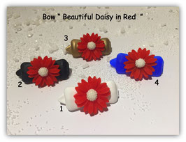 "Hundehaarspange  ""  Beautiful Daisy in Red """