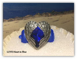 "HundeHaarSpange mit MetallApplikation  "" LOVE Heart in Blue"""