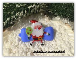 "WeihnachtsMotiv HundeHaarSpange "" Nikolaus mit Sackerl """