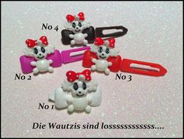 "HundehaarSpange "" Die Wautzis siind los  rot """