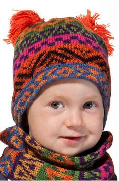Baby Mütze AQUARELL ca. 6-11 Monate mit Baumwolle gefüttert