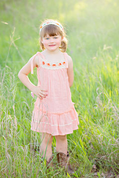 Bella Peach Pinafore Girl Dress