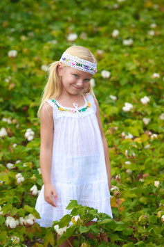 White Sandy Colorful Flowers Dress