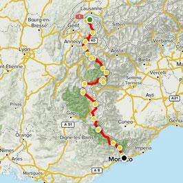 Frankreich, Route des Grandes Alpes - GPX Route