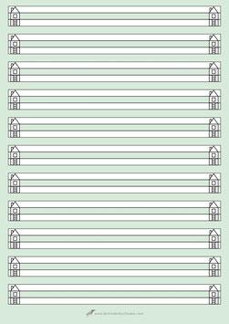 Schreibblock - A4 - HAUS - Lineatur 0 (NULL) - 50 Blatt - beidseitig bedruckt - grün