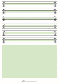 Schreibblock - A4 - Lineatur Null - Haus - Geschichten - grüner Kasten