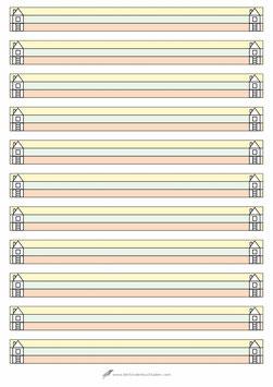 Schreibblock Haus - A4 - entspricht Lineatur 0 (Null) - 3farbig
