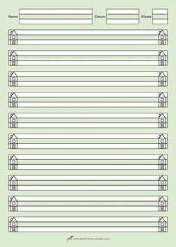 Schreibblock HAUS - A4 - N-D-K - entspricht Lineatur 0 (Null) - grün