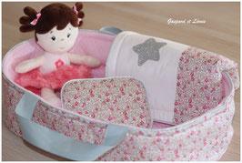 *Réservé Gaelle* Couffin + Parure de Lit pour poupée Liberty Eloise Rose et Jersey Rose matelassé