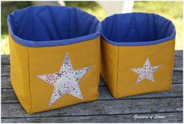 Duo de corbeilles moutardes doublées de bleu roi / Etoiles Liberty Adelajda New Multicolore