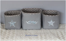 Corbeilles grises doublées de gris étoilé/ Liberty Adelajda bleu