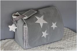 Sac à langer ou sac week end Gris étoilé de blanc et ses 3 étoiles.