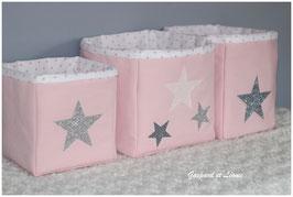 Trio de corbeilles de toilette roses