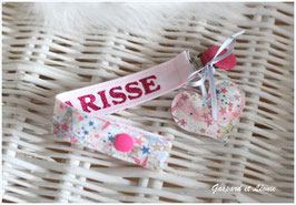 A2-Attache tétine ou Attache doudou Liberty Adelajda rose Japonais Personnalisable