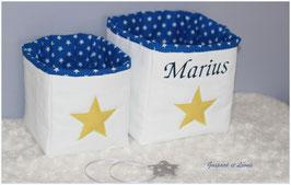 Corbeilles blanches doublées de bleu électrique / Etoiles anis *PERSONNALISABLE*