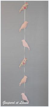 Guirlande de 6 mésanges Liberty Félicité rose, rose pale et peche