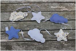 Guirlande de 6 sujets étoiles/nuages Liberty Adelajda Kaki, gris et bleu roi