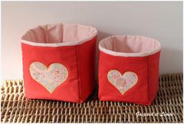 Duo de corbeilles Corail doublées de rose saumoné / Coeurs Liberty Adelajda Soleil