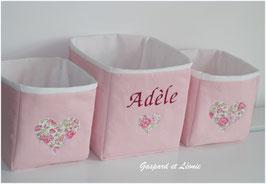 Corbeilles roses doublées de blanc / Coeur Liberty Félicité rose *PERSONNALISABLE*