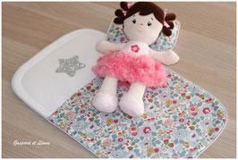 Parure de lit pour berceaux de poupées de 30cm Liberty Betsy Porcelaine