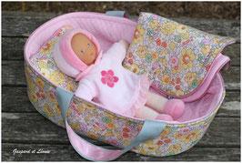 Couffin pour poupée et sa parure de lit coordonnée Liberty Betsy Jaune et Rose