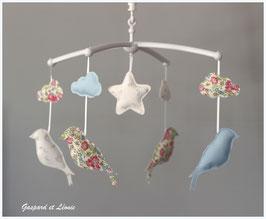 Mobile musical étoiles, nuages et mésanges Liberty Félicité New rose
