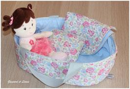 Couffin pour poupée et sa parure de lit coordonnée Liberty Félicité New Rose