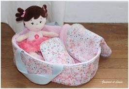 Couffin pour poupée et sa parure de lit coordonnée Liberty Adelajda rose et Rose