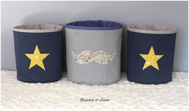 Corbeille de toilette ronde grise étoile jaune ou marine à moustache Liberty Adelajda kaki