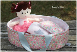 Couffin + Parure de Lit pour poupée Liberty Betsy Ann Sweet Pink et Rose lamé argent